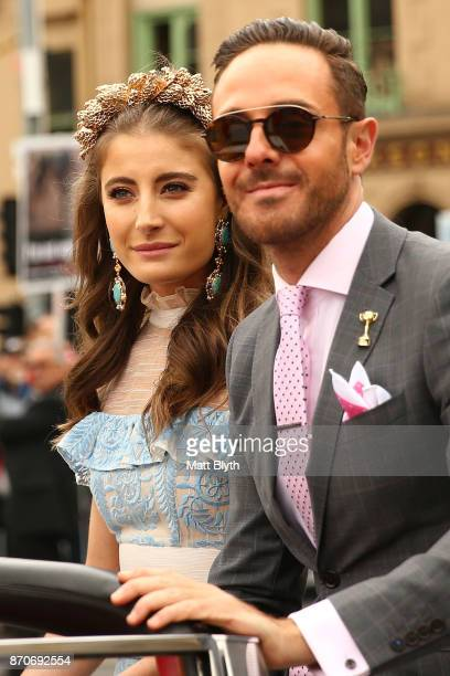 Myer Fashions on the Field Ambassadors Rebecca Harding and Donny Galella attend the 2017 Melbourne Cup Parade on November 6 2017 in Melbourne...