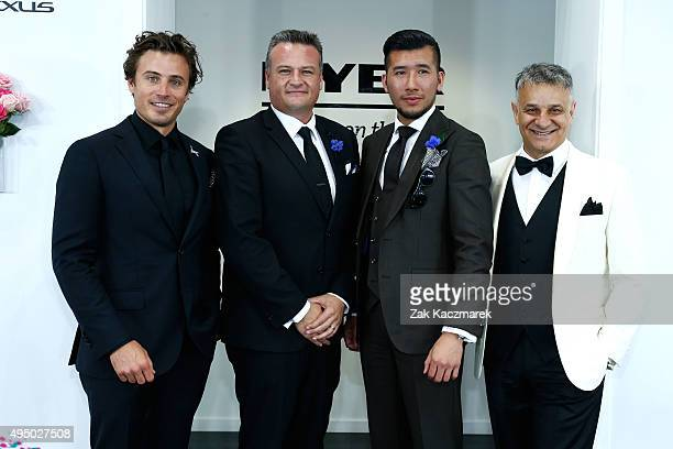 Myer Fashions on the Field judges James Tobin, Myer GM Menswaer Chris Wilson, 2014 Men's Racewear winner Peter Tran and Designer Dom Bagnato pose in...