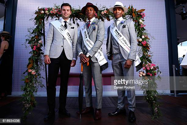 Myer Fashions on the Field Men's Racewear competition winner Shayne Tino and Runners Up Chico Seaton Trotman and Alexander Jordan pose in the Myer...