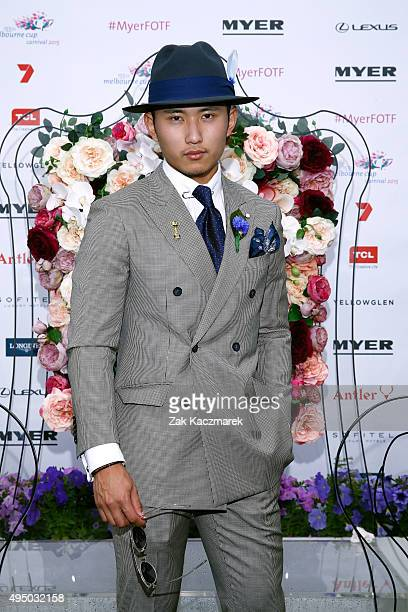 Myer Fashions on the Field Men's Racewear winner Pepe Sithiphon Siyavong poses on Victoria Derby Day at Flemington Racecourse on October 31 2015 in...