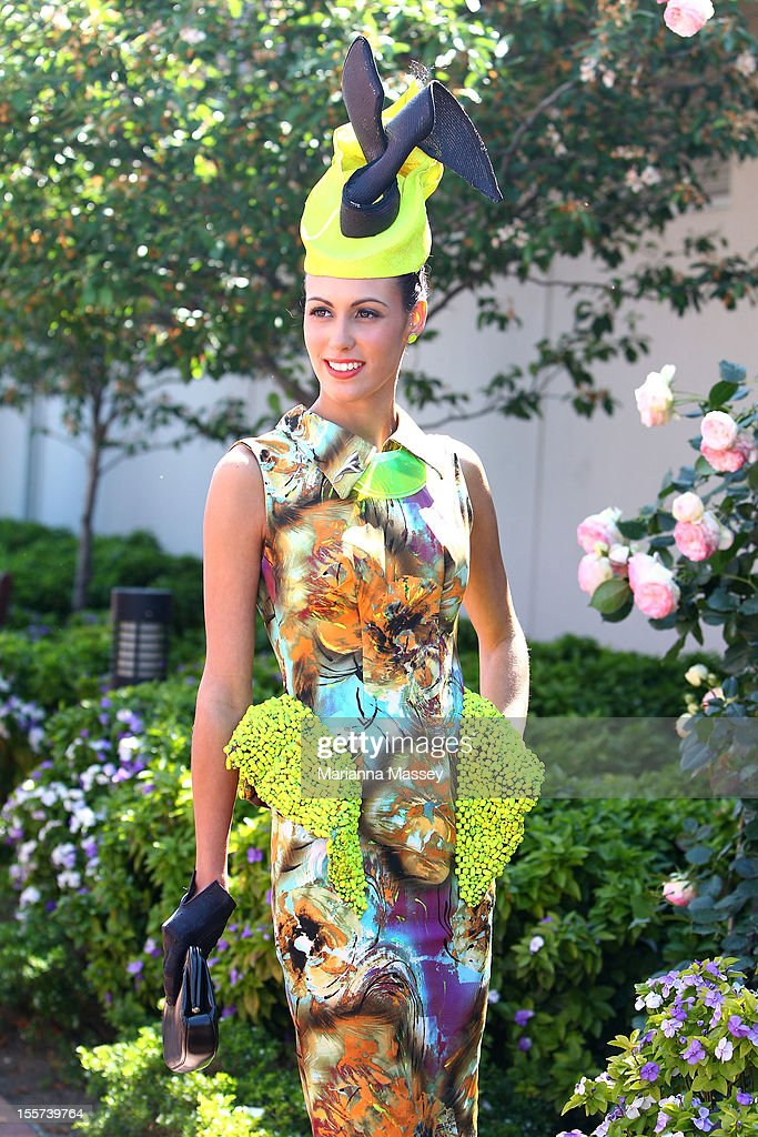 Myer Fashions on the Field National Women's Racewear Winner Amy Robson poses on Crown Oaks Day at Flemington Racecourse on November 8, 2012 in Melbourne, Australia.