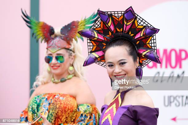 Myer Fashions on the Field participants poses on Emirates Melbourne Cup Day at Flemington Racecourse on November 7, 2017 in Melbourne, Australia.