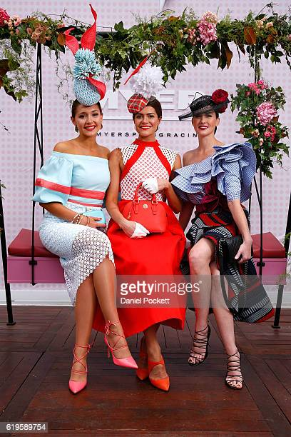 Myer Fashions on the Field Women's Racewear competition Olivia Moor and Runners Up Yvette Hardy and Charlotte Moor pose on Emirates Melbourne Cup Day...