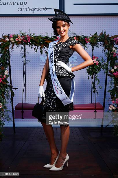 Myer Fashions on the Field Women's Racewear competition winner Gunita Kenina poses in the Myer Fashion On The Field Marquee on Victoria Derby Day at...