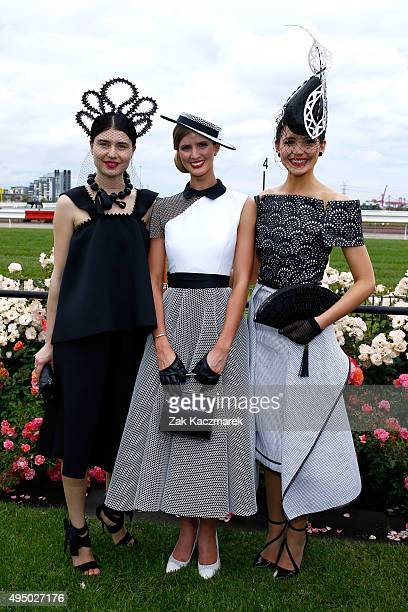Myer Fashions on the Field Women's Racewear winners first place Courtney Moore second runner up Katya Komarova and first runner up Charlotte Moor...