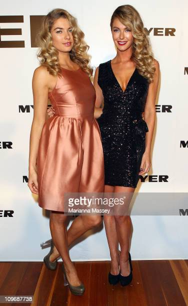 Myer models Jessica Hart and Jennifer Hawkins arrive at the Myer Autumn/Winter Season Launch 2011 at The Royal Exhibition Building on March 1 2011 in...