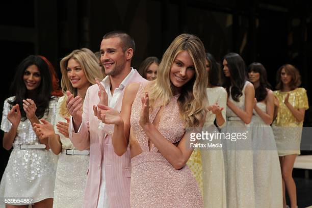 "Myer's ""Discover Summer"" 2010 fashion show in Sydney. Jennifer Hawkins, wears Jayson Brunsdon, male model Kris Smith wears Dom Bagnato, and Jessica..."