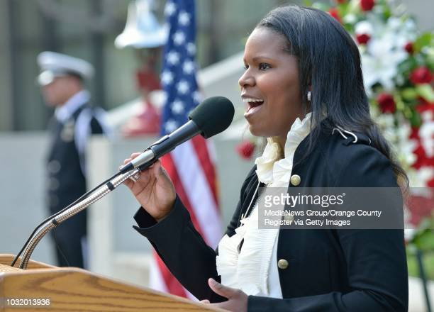 BEACH CALIF USA Myesha Chaney sings Wind Beneath my Wings during the Long Beach Police and Fire Memorial Service on May 8 2012