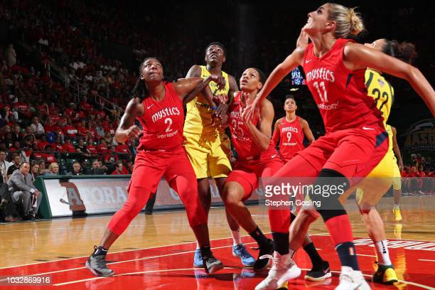 Myisha HinesAllen and Monique Currie of the Washington Mystics box out Natasha Howard of the Seattle Storm during Game Three of the 2018 WNBA Finals...