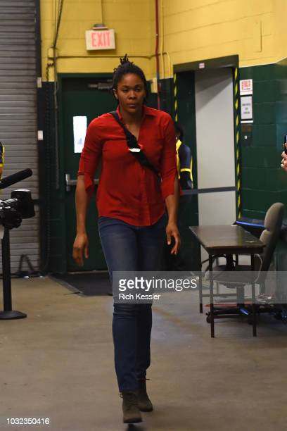 Myisha HinesAllen of the Washington Mystics arrives before the game against the Seattle Storm during Game Three of the 2018 WNBA Finals on September...