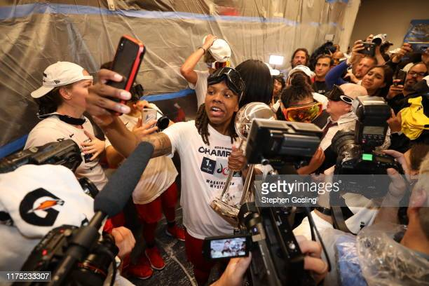 Myisha HinesAllen of the Washington Mystics celebrates in the locker room after winning the 2019 WNBA Finals against the Connecticut Sun during Game...