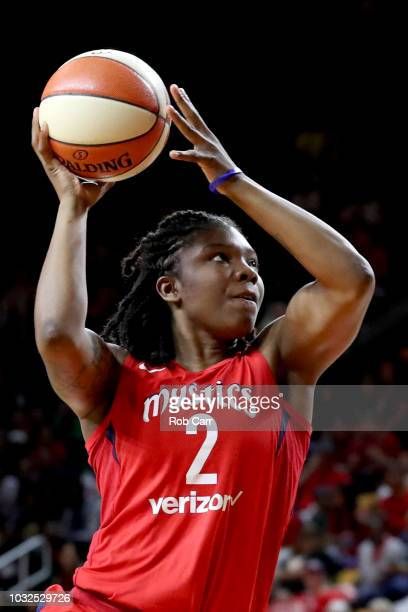Myisha HinesAllen of the Washington Mystics puts up a shot against the Seattle Storm in the second half during game three of the WNBA Finals at...