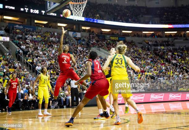 Myisha HinesAllen of the Washington Mystics puts up a shot during the first half of Game 2 of the WNBA Finals at KeyArena on September 9 2018 in...