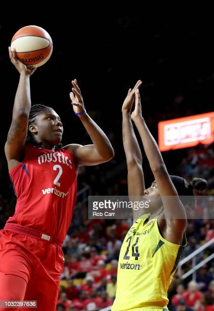 Myisha HinesAllen of the Washington Mystics puts up a shot in front of Jewell Loyd of the Seattle Storm in the second half during game three of the...