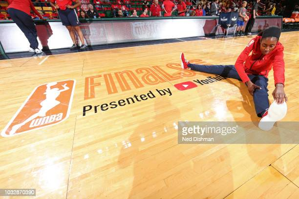 Myisha HinesAllen of the Washington Mystics stretches before Game Three of the 2018 WNBA Finals against the Seattle Storm on September 12 2018 at...