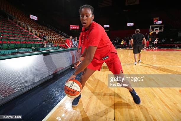 Myisha HinesAllen of the Washington Mystics warms up before Game Three of the 2018 WNBA Finals against the Seattle Storm on September 12 2018 at...