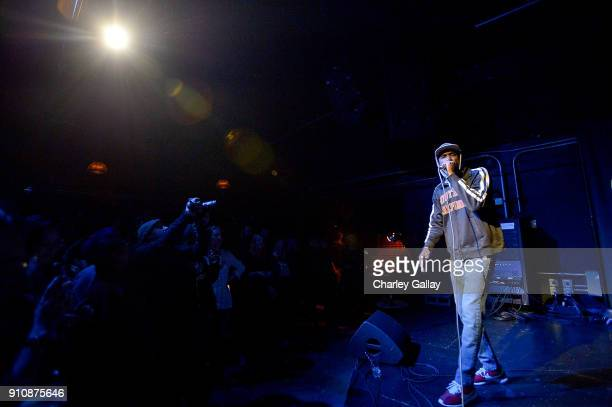 Myka 9 of Freestyle Fellowship performs at ALAC MUSIC SERIES @ ZEBULON Freestyle Fellowship at Zebulon on January 26 2018 in Los Angeles California