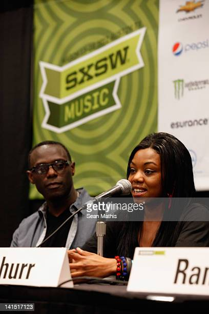 Mykaell Riley Head of Music Production Univeristy Westminster and Lady Leshurr speak onstage at Bass Culture The Influence of Reggae Music in Britain...