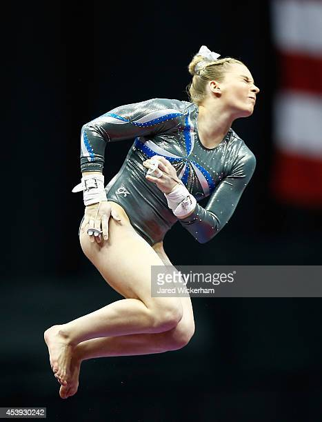 MyKayla Skinner competes in the bars section of the senior women preliminaries during the 2014 PG Gymnastics Championships at Consol Energy Center on...