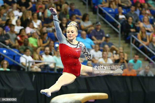 MyKayla Skinner competes in the floor exercise during day one of the 2016 PG Gymnastics Championships at Chafitz Arena on June 24 2016 in St Louis...