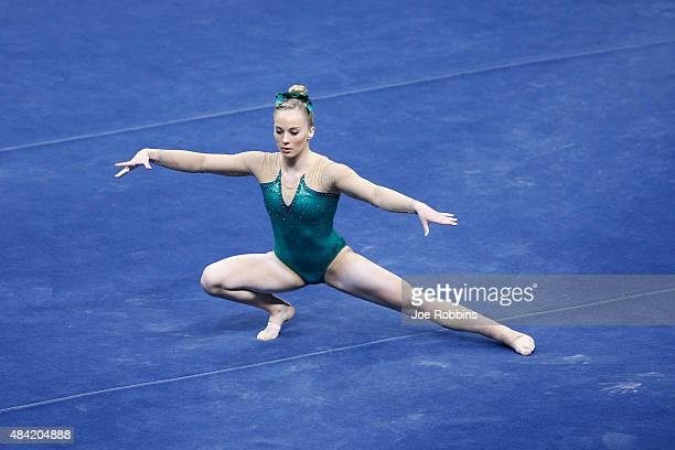MyKayla Skinner competes in the women's finals of the 2015 PG Gymnastics Championships at Bankers Life Fieldhouse on August 15 2015 in Indianapolis...