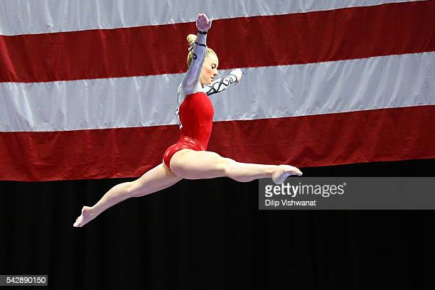 MyKayla Skinner competes on the balance beam during day one of the 2016 PG Gymnastics Championships at Chafitz Arena on June 24 2016 in St Louis...