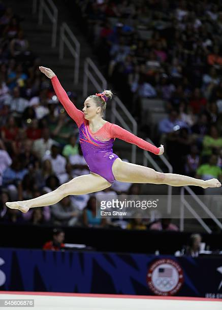 MyKayla Skinner competes on the floor exercise during Day 1 of the 2016 US Women's Gymnastics Olympic Trials at SAP Center on July 8 2016 in San Jose...