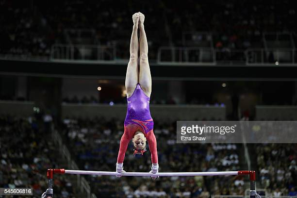 MyKayla Skinner competes on the uneven bars during Day 1 of the 2016 US Women's Gymnastics Olympic Trials at SAP Center on July 8 2016 in San Jose...