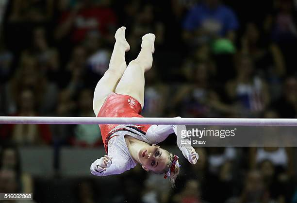 MyKayla Skinner competes on the uneven bars during Day 2 of the 2016 US Women's Gymnastics Olympic Trials at SAP Center on July 10 2016 in San Jose...