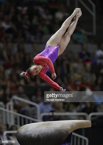 MyKayla Skinner competes on the vault during day 1 of the 2016 US Olympic Women's Gymnastics Team Trials at SAP Center on July 8 2016 in San Jose...