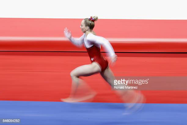 MyKayla Skinner competes on the vault during day 2 of the 2016 US Olympic Women's Gymnastics Team Trials at SAP Center on July 10 2016 in San Jose...