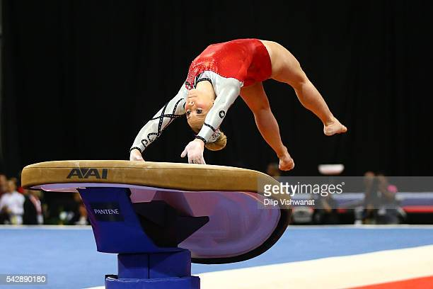MyKayla Skinner competes on the vault during day one of the 2016 PG Gymnastics Championships at Chafitz Arena on June 24 2016 in St Louis Missouri
