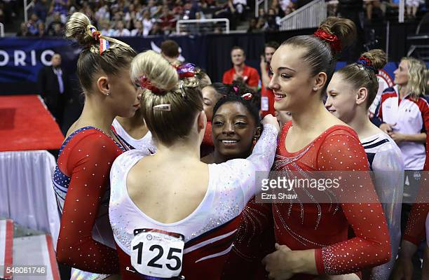MyKayla Skinner hugs Simone Biles following Day 2 of the 2016 US Women's Gymnastics Olympic Trials at SAP Center on July 10 2016 in San Jose...