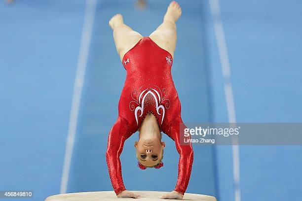 Mykayla Skinner of the United States competes on the vault during the Women's Team Final on day two of the 45th Artistic Gymnastics World...