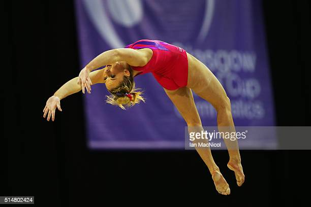 Mykayla Skinner of United States competes on the Beam during practice prior to the 2016 FIG Artistic World Cup at The Emirates Arena on March 11 2016...