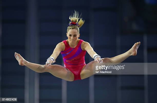 Mykayla Skinner of United States competes on the High Bar during practice prior to the 2016 FIG Artistic World Cup at The Emirates Arena on March 11...