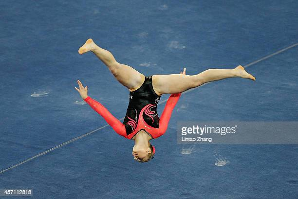 Mykayla Skinner of United States performs on the floor during the Women's Floor Exercise Final on day six of the 45th Artistic Gymnastics World...