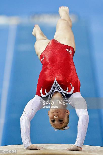 Mykayla Skinner of United States performs on the vault during the Women's Vault Final on day five of the 45th Artistic Gymnastics World Championships...