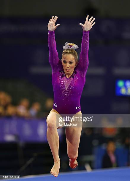 Mykayla Skinner of United States performs on the Vault during the 2016 FIG Artistic World Cup at The Emirates Arena on March 12 2016 in Glasgow...