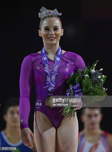 Mykayla Skinner of United States poses with her gold medal after winning the Women's event during the 2016 FIG Artistic World Cup at The Emirates...