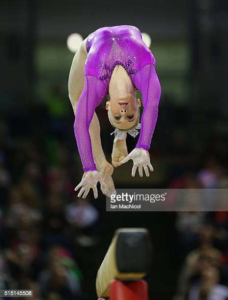 Mykayla Skinner of United States preforms on the Beam during the 2016 FIG Artistic World Cup at The Emirates Arena on March 12 2016 in Glasgow...