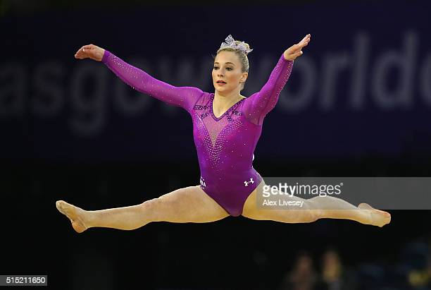 MyKayla Skinner of USA competes on the Floor on her way to winning gold during the Womens AllAround Artistic World Cup competition at the Emirates...