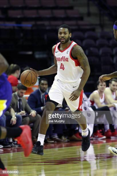 Myke Henry of the Memphis Hustle handles the ball during the game against the Santa Cruz Warriors during an NBA GLeague game on March 10 2018 at...