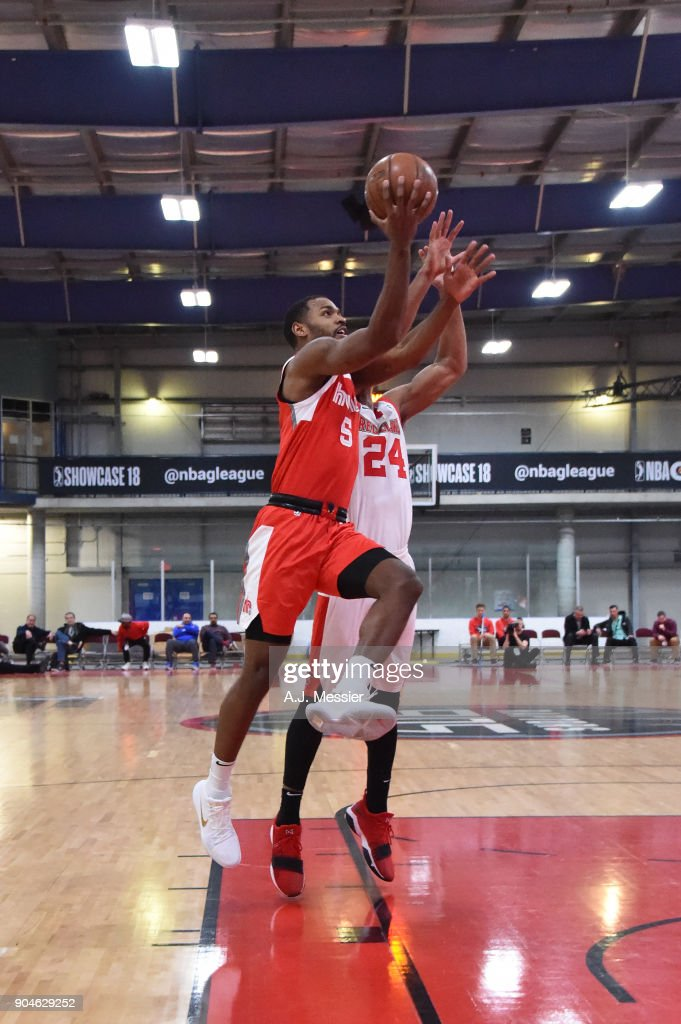 Myke Henry #5 of the Memphis Hustle handles the ball during the NBA G-League Showcase Game 25 between the Memphis Hustle and the Maine Red Claws on January 13, 2018 at the Mississauga SportZone in Mississauga, Ontario Canada.