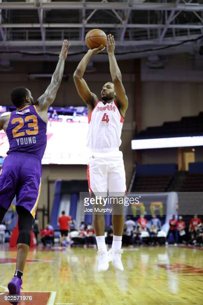 Myke Henry of the Memphis Hustle shoots the ball during the game against the Northern Arizona Suns during an NBA GLeague game on February 21 2018 at...
