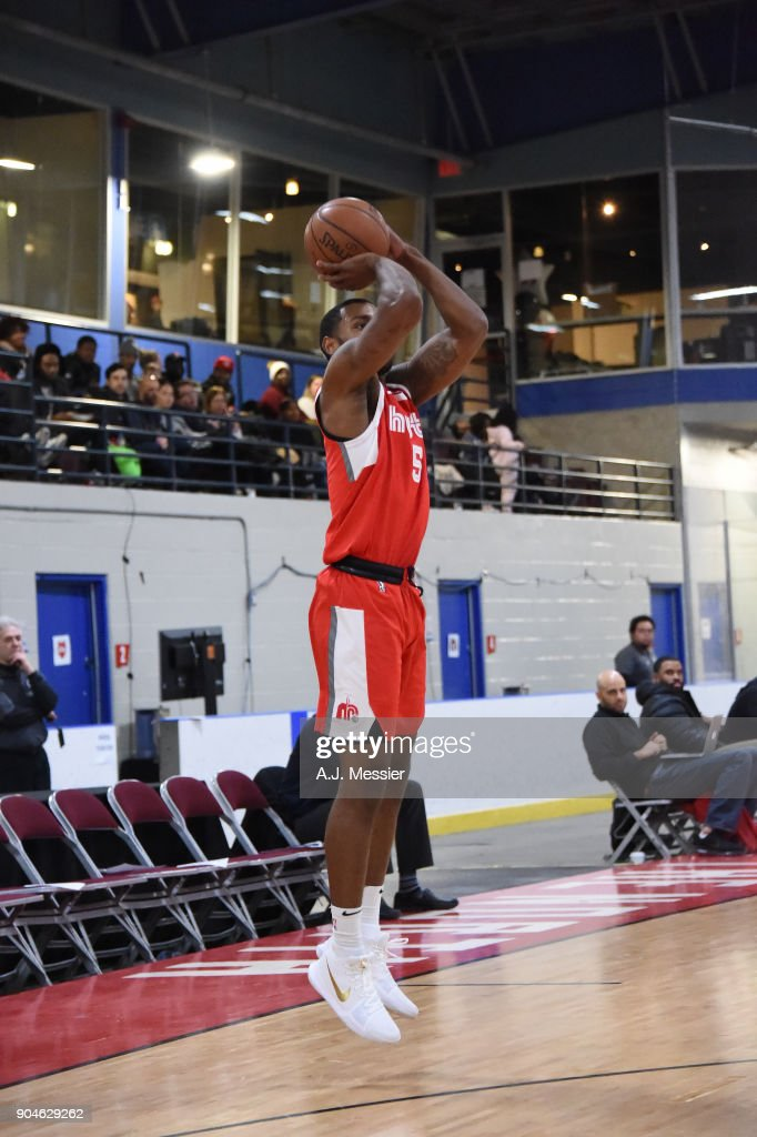 Myke Henry #5 of the Memphis Hustle shoots the ball during the NBA G-League Showcase Game 25 between the Memphis Hustle and the Maine Red Claws on January 13, 2018 at the Mississauga SportZone in Mississauga, Ontario Canada.