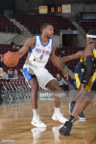 Myke Henry of the Oklahoma City Blue dribbles the ball against the Fort Wayne Mad Ants during the NBA GLeague Showcase on January 11 2018 at the...