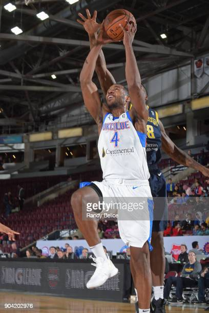 Myke Henry of the Oklahoma City Blue drives to the basket against the Fort Wayne Mad Ants during the NBA GLeague Showcase on January 11 2018 at the...