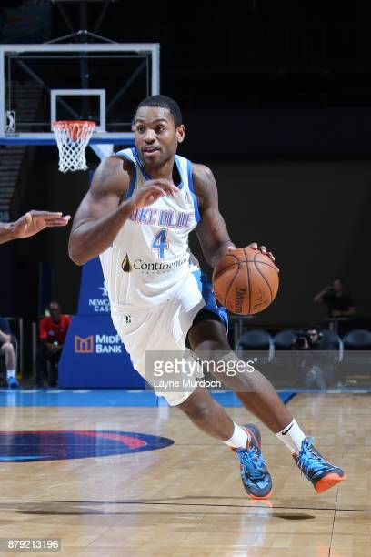 Myke Henry of the Oklahoma City Blue handles the ball during a NBA GLeague game against the Agua Caliente Clippers on November 25 2017 at the Cox...