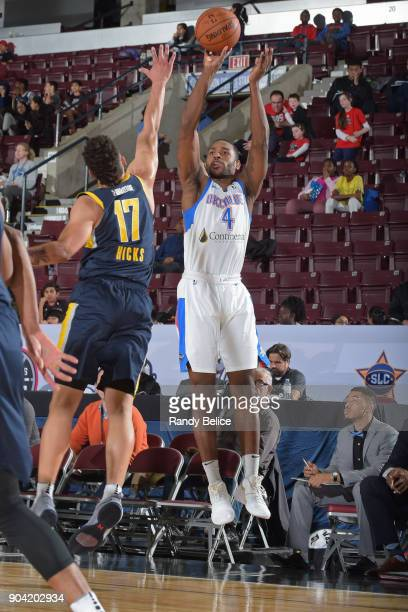 Myke Henry of the Oklahoma City Blue shoots the ball against the Fort Wayne Mad Ants during the NBA GLeague Showcase on January 11 2018 at the...